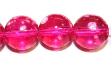 35pieces x 12mm Shocking pink colour round shape bubble gum glass beads / speckled glass beads -- 3005128